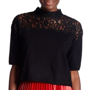 Topshop Black Lace Insert Pullover